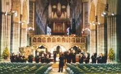 Exeter Cathedral - Dress rehearsal, Bowman concert, Sept 2004